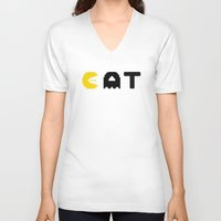 eat V-neck T-shirts featuring EAT by Adil Siddiqui