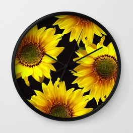 Large Sunflowers on a black background #decor #society6 #buyart Wall Clock