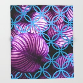 Purple Leaves Blue Geometric Throw Blanket