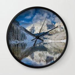 Winter Season at Maroon Bells Colorado Panorama Wall Clock