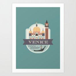 Venice Italy Badge Art Print