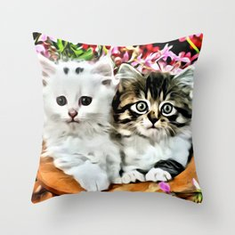 TWO CUDDLY KITTENS Throw Pillow