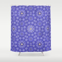 Rings of Flowers - Color: Royal Blue & Gold Shower Curtain