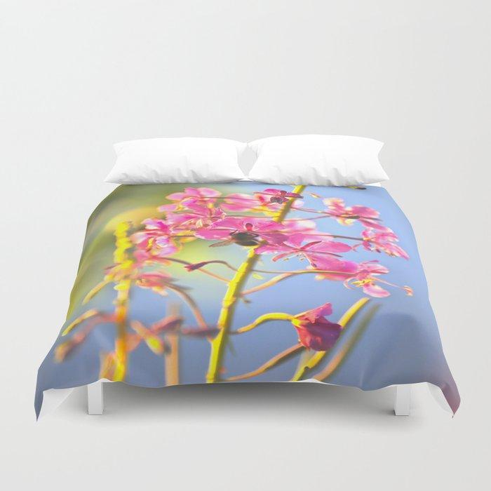 Summer Atmosphere Pink Flower Blue Sky #decor #society6 Duvet Cover