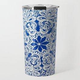 White snowflake in Petrykivka style Travel Mug