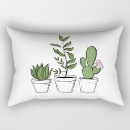 Three Little Succulents Rectangular Pillow
