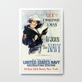 Vintage U.S. Navy Recruitment Poster Metal Print