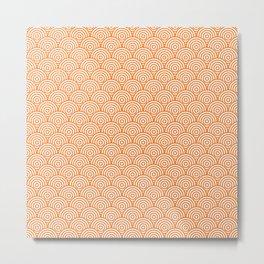 Orange Concentric Circle Pattern Metal Print