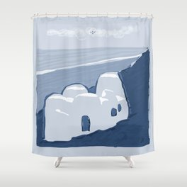 Labyrinth on the Shore, Sketch, Cyanotype Shower Curtain