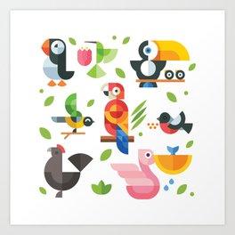 Birds in geometry Art Print