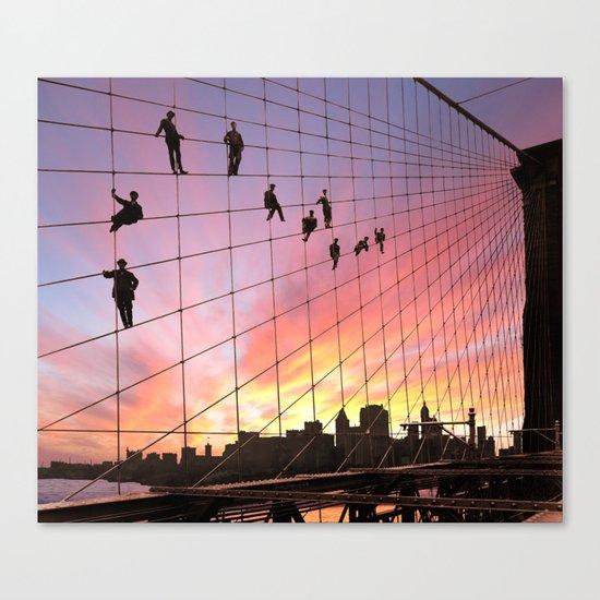 Brooklyn Bridge Painters Quitting Time Canvas Print