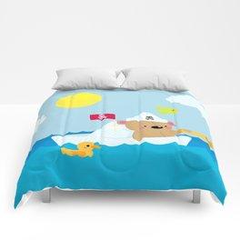 Bear in paper boat Comforters