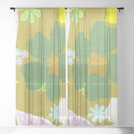 gardenia, olive Sheer Curtain