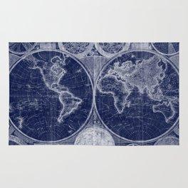 World Map (1794) Blue & White Rug