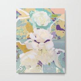 Mirrored White Rose Metal Print
