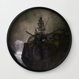 Sunlit waterfall detail in Norway Wall Clock
