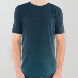 Navy blue teal hand painted watercolor paint ombre All Over Graphic Tee