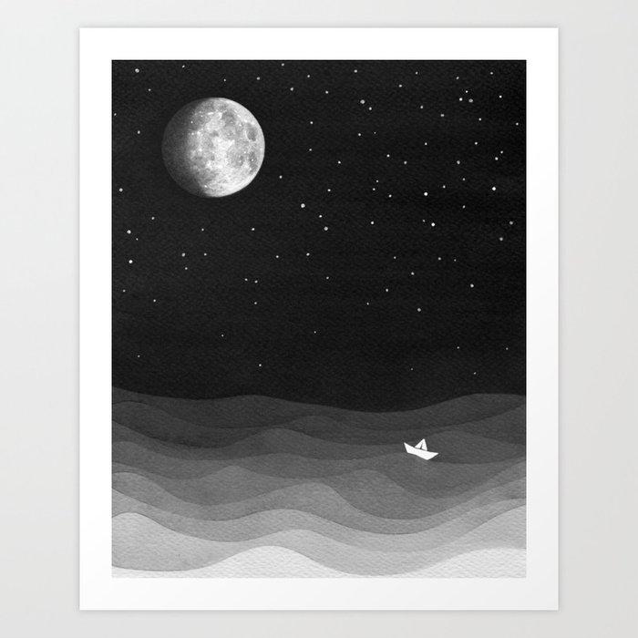 Moon phase black and white ocean art print