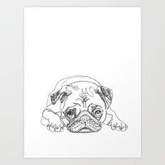 Lazy Pugturday Art Print