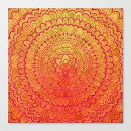 Aztec Flower Mandala Canvas Print