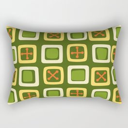Mid Century Modern Squares Lines Avocado Green Rectangular Pillow
