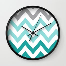 TEAL FADE CHEVRON Wall Clock