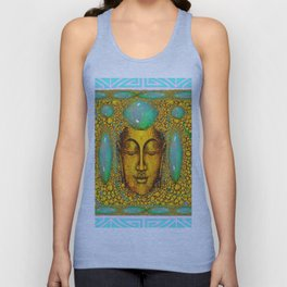 TURQUOISE ART DECO & FIRE OPALS GOLD BUDDHA ABSTRACT Unisex Tank Top