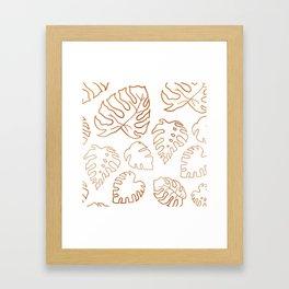 Copper Gold Metallic Monstera Leaves / Tropicals / Botanical / Greenery / Foliage Line Art Framed Art Print