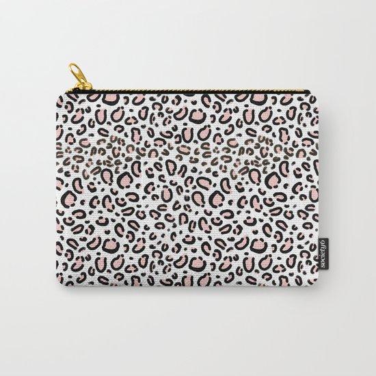 Leopard print rose quartz pantone color minimal animal print cute children pattern cheetah spots  Carry-All Pouch