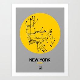 New York Yellow Subway Map Art Print