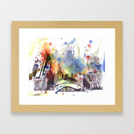 Chicago Bean Cityscape Watercolor Painting Framed Art Print