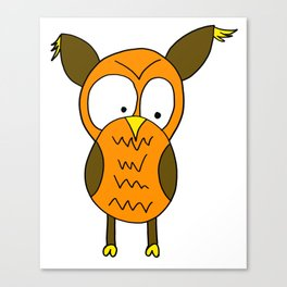 Hand drawn funny looking owl Canvas Print