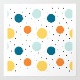 cute colorful pattern with grunge circle shapes Art Print