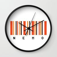 finding nemo Wall Clocks featuring Nemo by Vector Vectoria