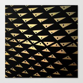 black and gold dotted triangles pattern Canvas Print