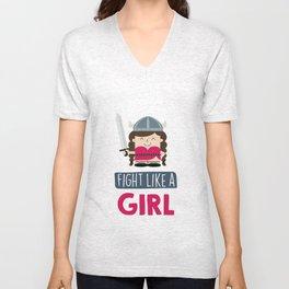 Fight like a girl 3 Unisex V-Neck