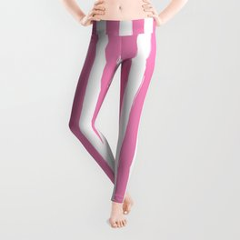 Pink and White Cabana Stripes Palm Beach Preppy Leggings