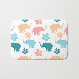 cute colorful pattern with elephants and flowers Bath Mat
