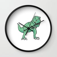 t rex Wall Clocks featuring T-rex by Cat Milchard