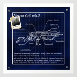 Ray Gun blueprint Art Print