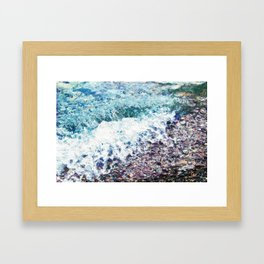 Waves lap at the shore - painting - art gift - abstract Framed Art Print