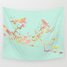 Love Birds on Branch Vintage Floral Shabby Chic Pink Yellow Mint Wall Tapestry