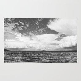 Black And White Lake Landscape - White Cumulus Clouds - Scandinavia - #Society6 #buyart Rug