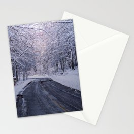 Mountain Road Winter Forest Stationery Cards