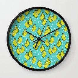 Lemons minimal triangles fruit citrus lemon pattern by andrea lauren Wall Clock