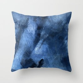 Blue Black Scribble and Scratch Throw Pillow