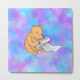 Pooh Reading Purple Metal Print