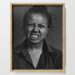 Angry woman on dark background Serving Tray