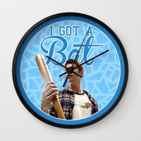 stiles stilinski Wall Clocks featuring Stiles Stilinski - Bat by JulietteGD