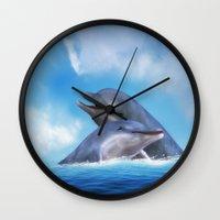 dolphins Wall Clocks featuring Dolphins by Susann Mielke